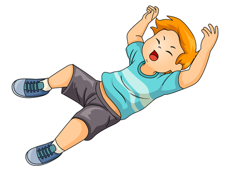 Illustration of a Kid Boy Falling Down the Floor Stock Photo