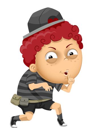 Illustration eines Kinderjungen, der herausschleicht und ein Schweigezeichen hält