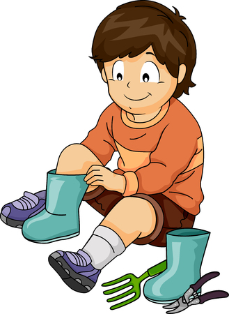 Illustration of a Kid Boy Changing into Gardening Boots with Garden Fork and Cutting Shears