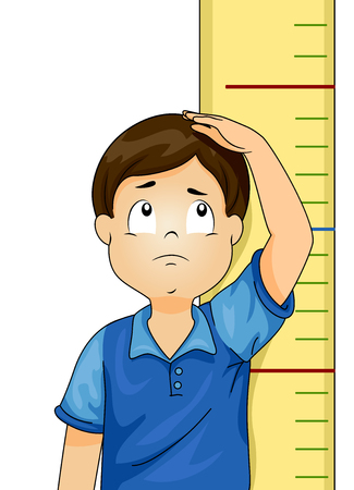 Illustration of a Kid Boy Standing in Front of Height Measurement Chart Showing Him Shorter than Expected
