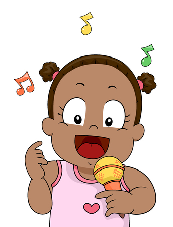 Illustration of a Kid Girl Singing and Holding a Microphone Stock Photo