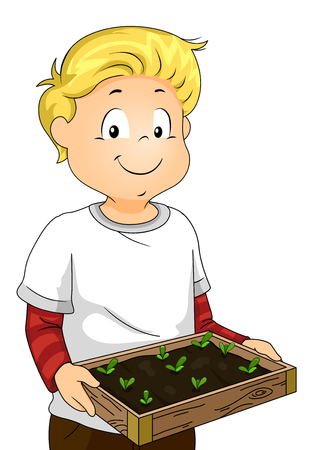 Illustration of a Kid Boy Carrying a Seed Bed with Sprouts for Gardening Фото со стока - 106699220