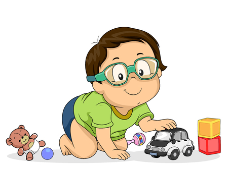 Illustration of a Kid Boy Wearing Protective Eye Wear While Playing with His Toys