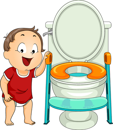 Illustration of a Kid Boy Standing Beside a Toilet Training Seat Stock Photo
