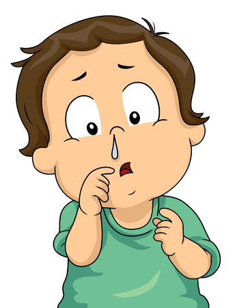 Illustration of a Kid Boy with a Runny Nose