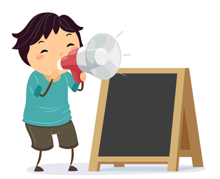 Illustration of a Stickman Kid Boy Using a Megaphone to Announce a Sale and Standing Beside a Blank Board Banco de Imagens - 106698232