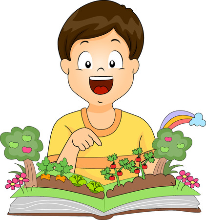 Illustration of a Kid Boy Pointing to Tomato Plants on a Garden Pop Up Book