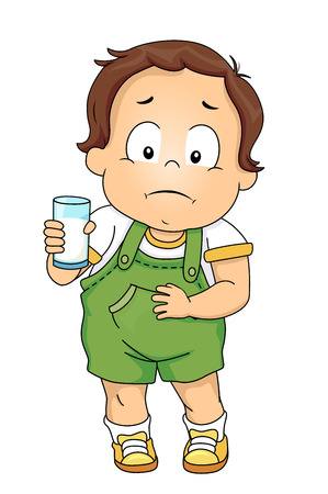 Illustration of a Kid Boy Holding a Glass of Milk and a Hurting Stomach Stock Photo