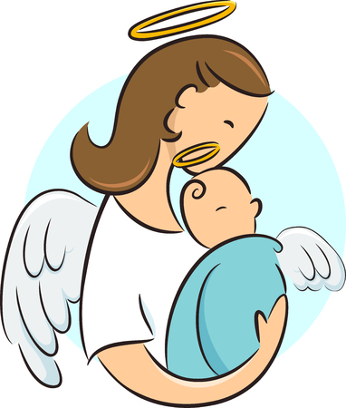 Illustration of a Guardian Angel Hugging a Newborn Baby with Halo Archivio Fotografico - 106698245