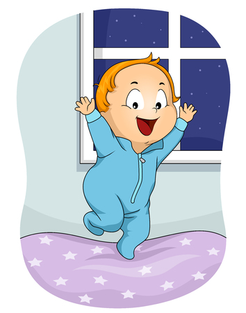 Illustration of a Kid Boy Wearing Pajama Jumping on Bed and Restless at Night