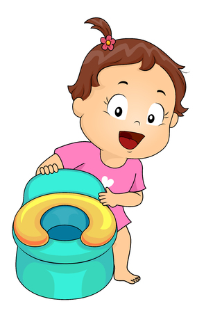 Illustration of a Kid Girl Toddler Holding Her Potty Chair Stock Photo