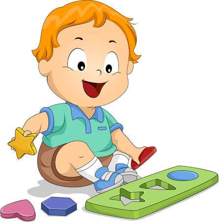 Illustration of a Kid Boy Holding Geometric Shapes and Picking Correct Object that Fits the Hole