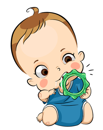 Illustration of a Young Baby Boy Chewing an Ice Teething Toy
