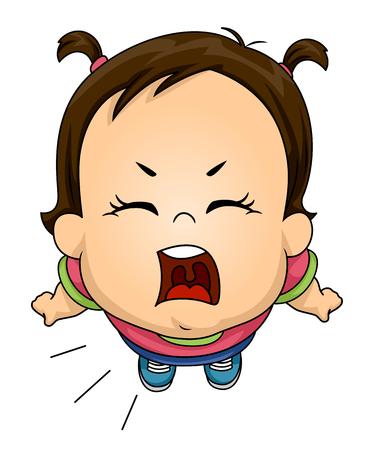 Illustrazione di un bambino della ragazza del bambino che grida forte