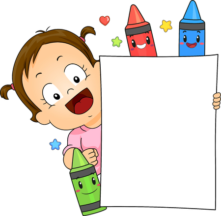 Illustration of a Kid Girl with Crayon Mascots Showing a Blank Board