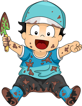 Illustration of a Happy Kid Boy Covered in Mud and Dirt Holding a Shovel for Gardening