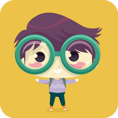 Illustration of a Kid Boy Student Wearing Back Pack and Big Eyeglasses Stock Photo