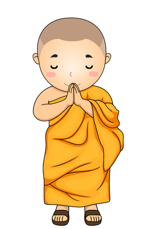 Illustration of a Kid Boy Monk with Hands Together and Head Down as a Greeting Foto de archivo