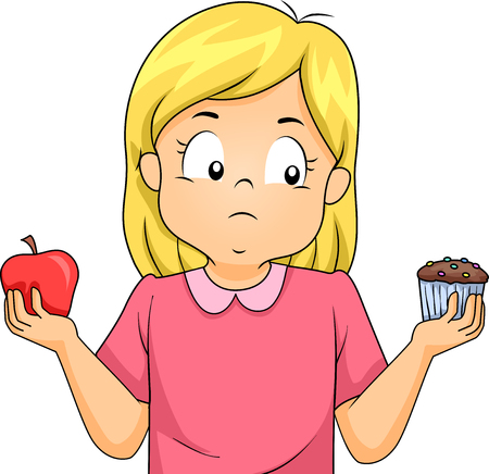 Illustration of a Kid Girl Choosing Between an Apple and a Cupcake