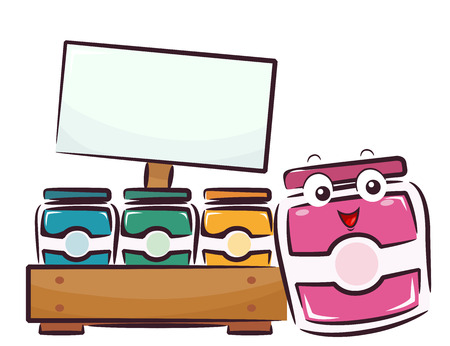 Illustration of a Fruit Jam Mascot Selling Jars of Jams with Blank Sign Board Banque d'images - 105458507
