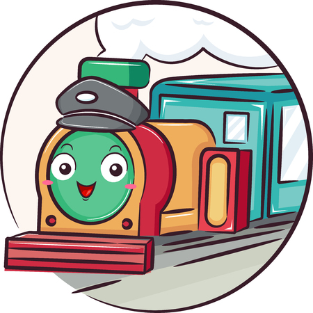 Illustration of a Retro Train Mascot Driver Smiling with Smoke Coming Out of Chimney