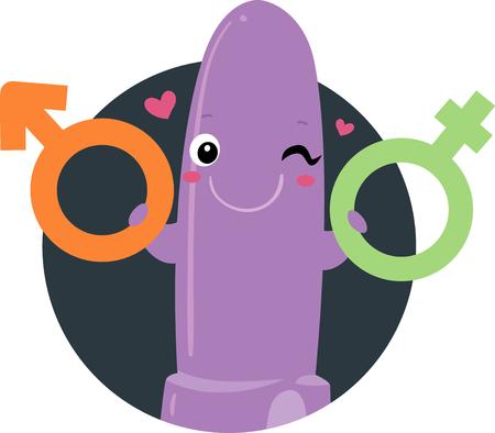 Illustration d'une mascotte de vibrateur tenant un symbole homme et femme Banque d'images