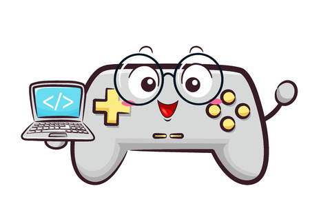 Illustration of a Game Controller Mascot Holding a Laptop with HTML Coding Symbol Stock Photo