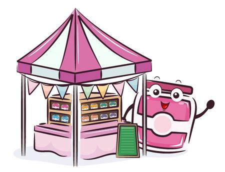 Illustration of a Street Vendor Fruit Jam Mascot Selling Jars of Jams