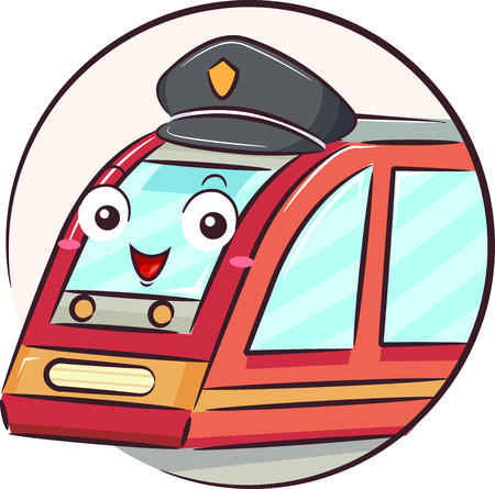 Illustration of a Train Mascot Driver Wearing a Hat Stock Photo