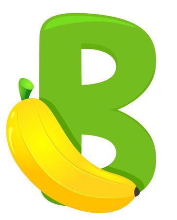 Illustration of Fruit Alphabet, a Green Letter B and a Banana Фото со стока