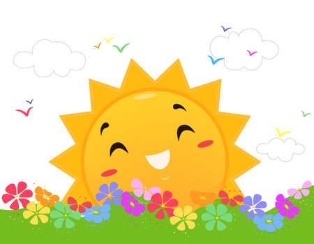 Illustration of a Sun Mascot Happily Shining Among Rainbow Colored Flowers and Birds