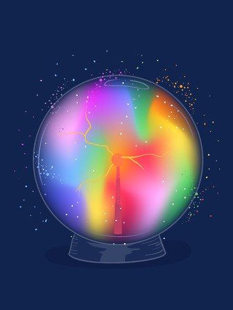 Illustration of a Crystal Ball with Rainbow Colors Inside for Fortune Telling Stock Photo