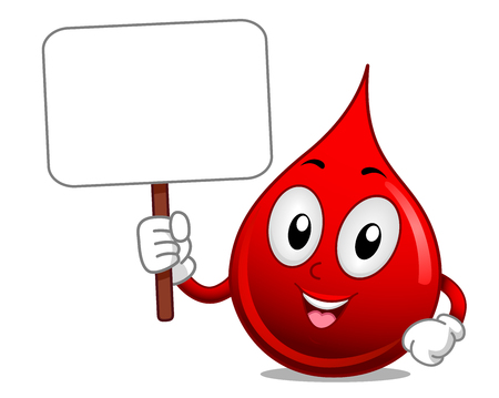 Illustration of a Blood Mascot Holding a Blank Sign Board Asking for Donation