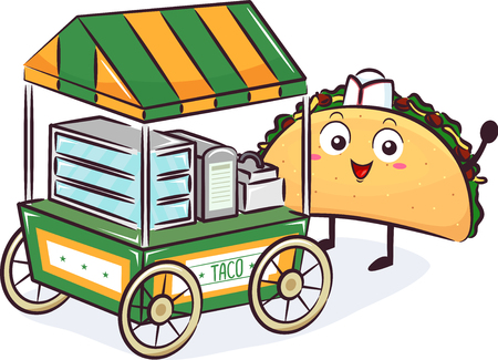 Illustration of a Taco Mascot Selling and Pushing His Food Cart Imagens