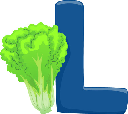 Illustration of Vegetables Alphabet, a Blue Letter L and a Lettuce