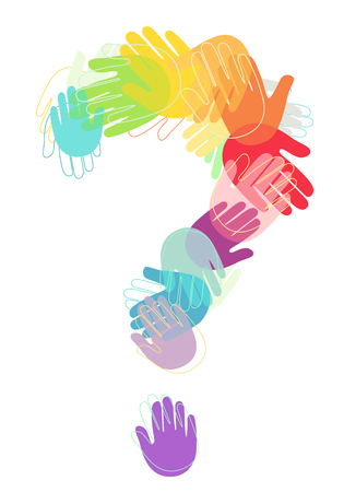 Illustration von Kinderhänden in verschiedenen Farben, die ein Fragezeichen bilden