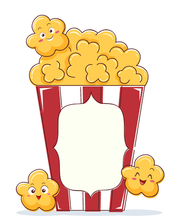 Illustration of Popcorn Mascot on Red Bag for Movies Stockfoto