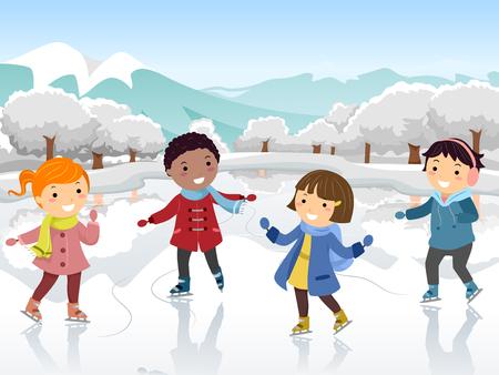 Ilustración de Stickman Kids patinaje sobre hielo al aire libre en invierno