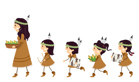 Illustration of Stickman Kid Native American Girls Following a Girl Carrying Barks, Bow Drill and Corn Harvest