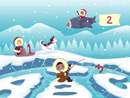 Illustration of Stickman Kids Eskimo with 123 and ABC Иллюстрация