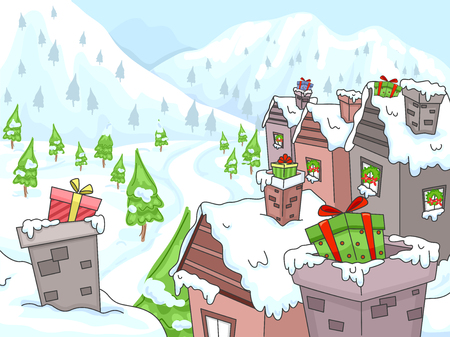 Illustration of Christmas Houses in Winter with Gifts on Chimney Ilustrace