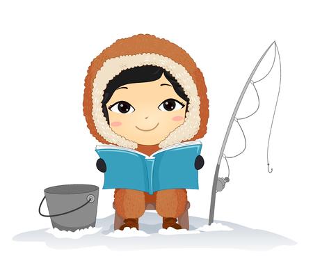 Ilustración de un niño esquimal leyendo un libro, pescando y sentado con un cubo y caña de pescar Ilustración de vector