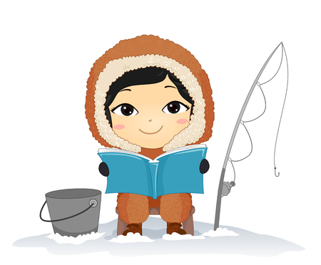 Illustration of a Kid Boy Eskimo Reading a Book, Fishing and Sitting with a Pail and Fishing Rod