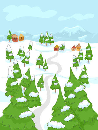 Illustration of a Snow Town with Few Houses in the Mountains Ilustração