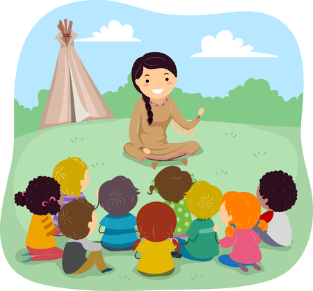 Illustration of Stickman Kids Listening to a Native American Telling Story with a Teepee in the Background Illustration