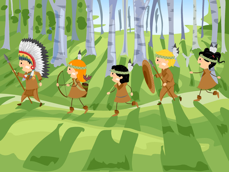 Illustration of Stickman Kids in Native American Costume Running in the Forest Hunting Vector Illustration