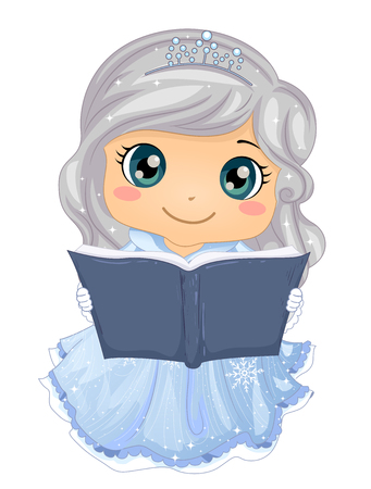 Illustration of a Kid Girl Ice Princess Wearing Gown and Crown Reading a Fairy Tale Book