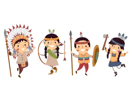 Illustration of Stickman Kids Wearing Different Native American Costumes Vektoros illusztráció
