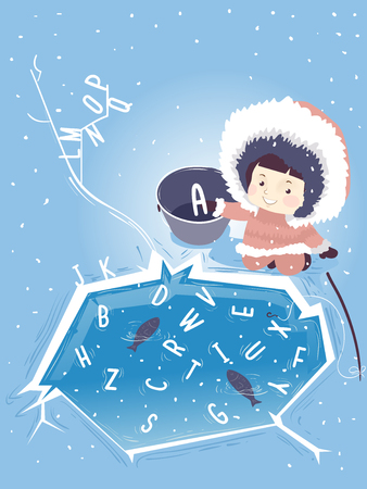 Illustration of a Kid Girl Eskimo Ice Fishing the Alphabet from the Pond