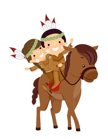 Illustration of Stickman Native American Kids Waving Hello and Riding a Horse